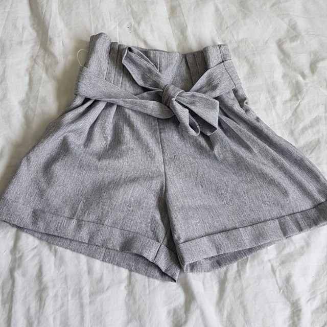 Grey tie up high waisted shorts