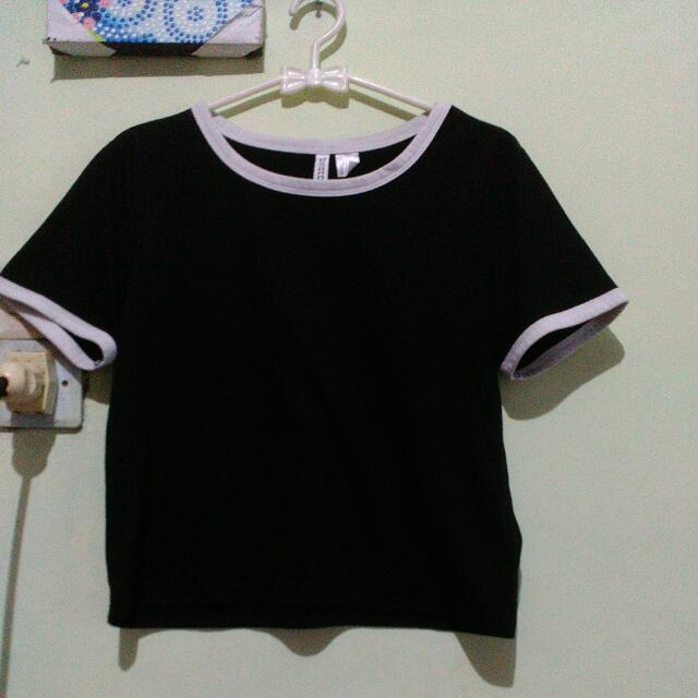 H&M CROP TOP/RINGER TEE