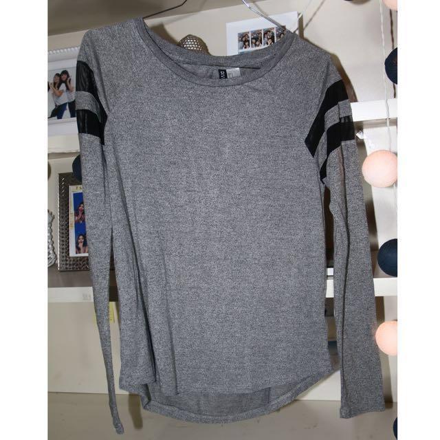 h&m grey long t-shirt