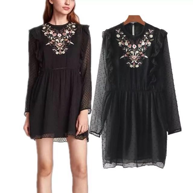 d7a01b61 🥀Inspired Zara Dotted Mesh Dress With Floral Embroidered Loose Fitting  Sleeves🥀, Women's Fashion, Clothes, Dresses & Skirts on Carousell