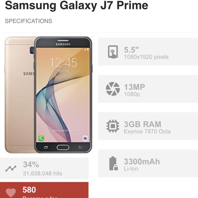 J7 Prime 3+32GB Rose Gold