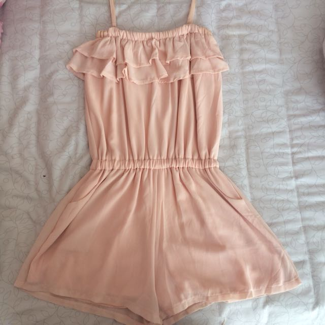 Jumpsuit Ruffle Pink Peach Chick Simple