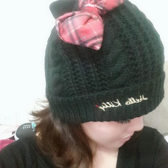 Kitty紅格毛線帽
