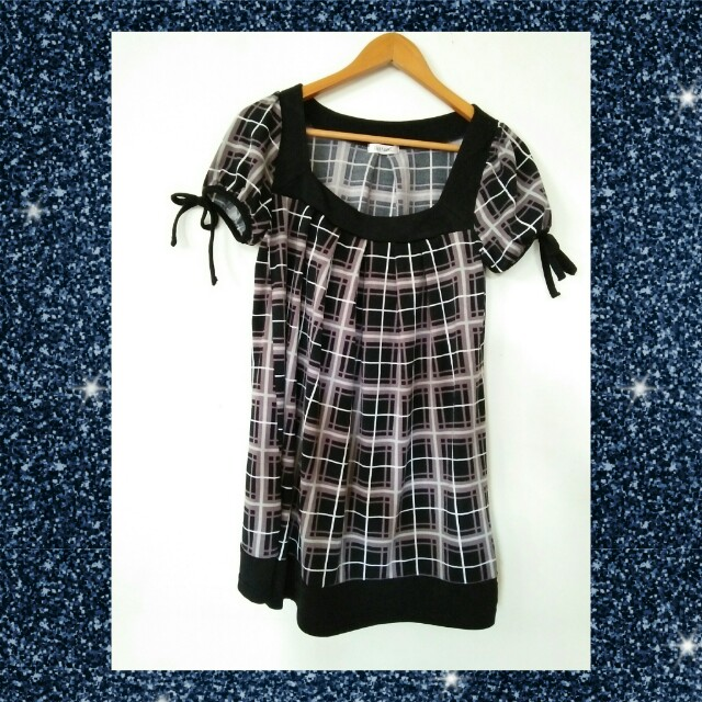 Korean-checkered dress(black)
