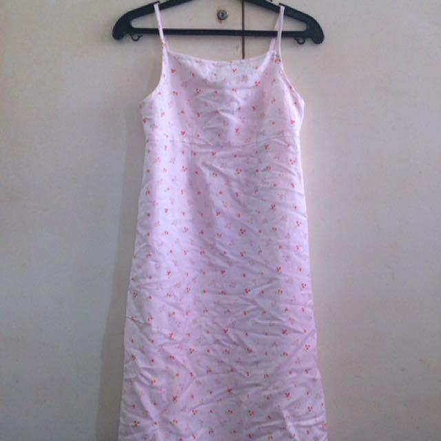 Light pink floral spaghetti dress