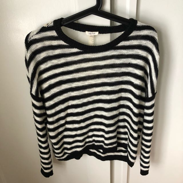 Lily Loves Black And White Stripe Jumper Size XXS