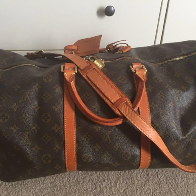 Louis Vuitton Vintage Monogram Bandouliere Keepall 55 Travel Bag