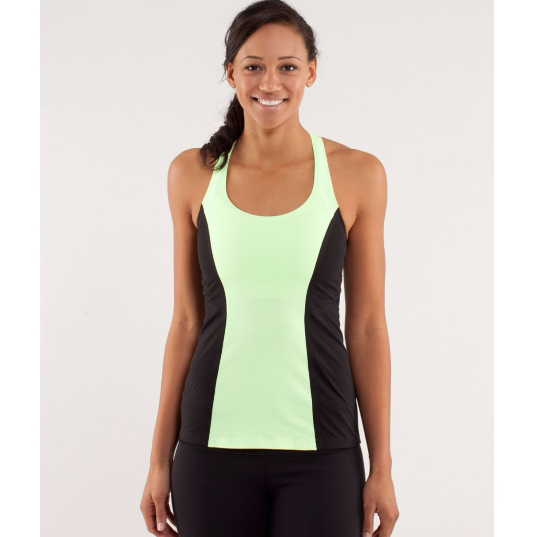 Lululemon Cool Racerback Tank, Surfbonded Edition, Neon Green/Black, Size 4/AU8