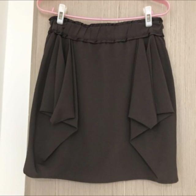Max&co 咖啡色細紗短裙M