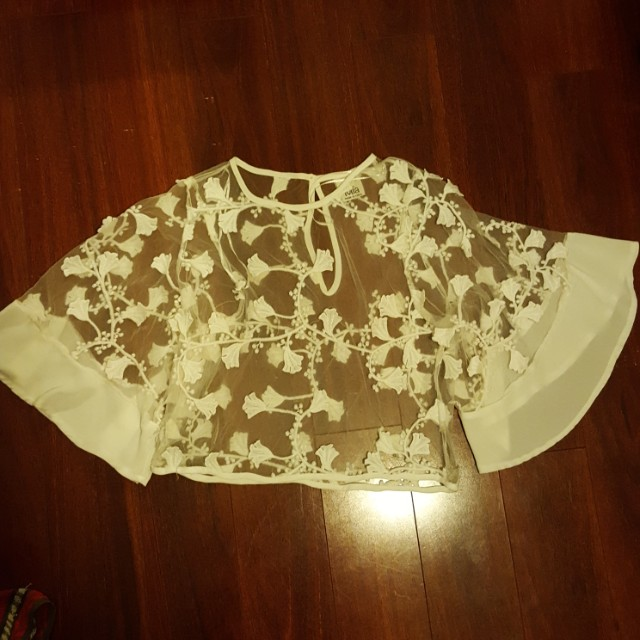 Mia White see through floral embroidery flutter shirt
