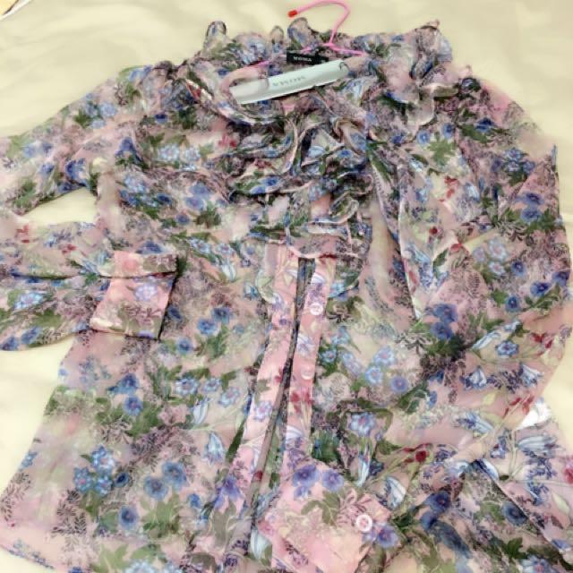 MOMA粉紫荷葉襯衫