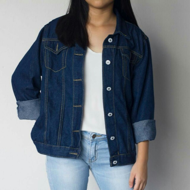 Navy Blue Denim Jacket Women S Fashion Clothes Outerwear On Carousell