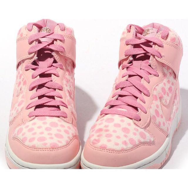 Nike Dunk Hi GS 粉紅豹 頑皮豹 圓點 毛茸茸 豹紋 小鹿斑比 可愛 粉紅色情人節限定款高筒休閒運動鞋