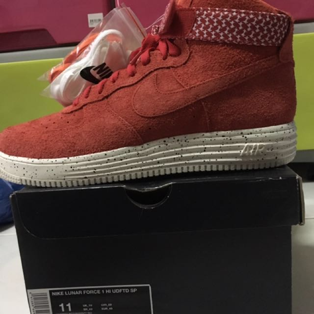 best service 651f5 72c2b Nike x Undefeated - Air Force Lunar Force 1 High SP (University Red), Men s  Fashion, Footwear, Sneakers on Carousell