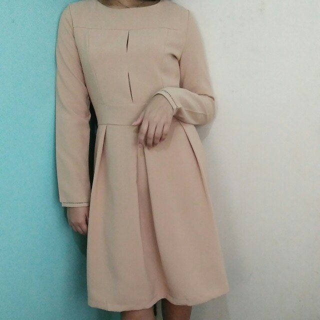 Nude longsleeve korean dress