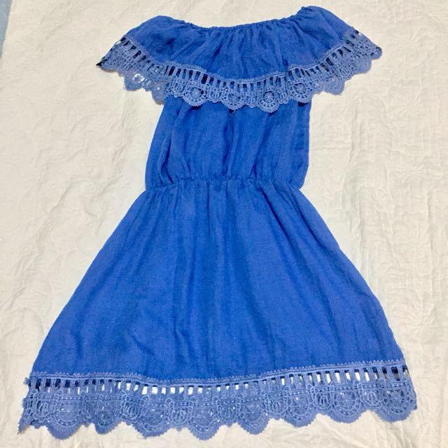 Off Shoulder Blue Dress