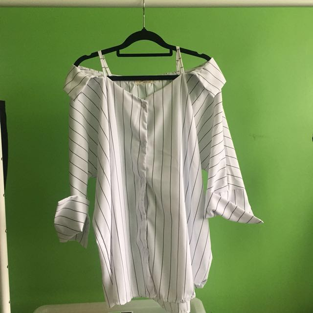Off shoulder white pinstripe shirt