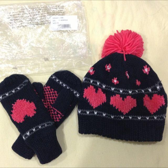 Oshkosh 女童手套+毛帽組