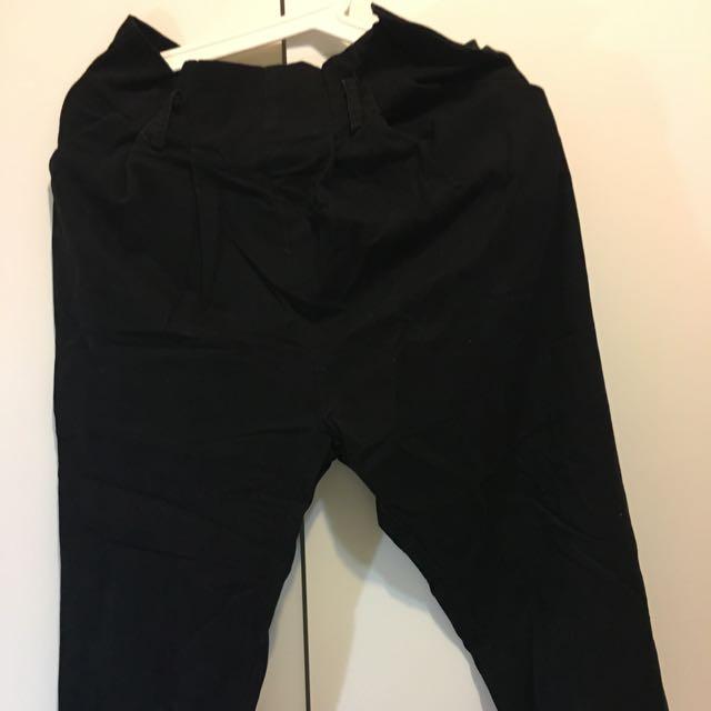 冬季出清PAZZO 黑色荷葉邊收腰寬褲(附腰帶)