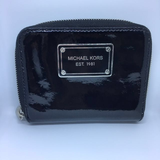 Pre loved black patent leather Michael Kors wallet
