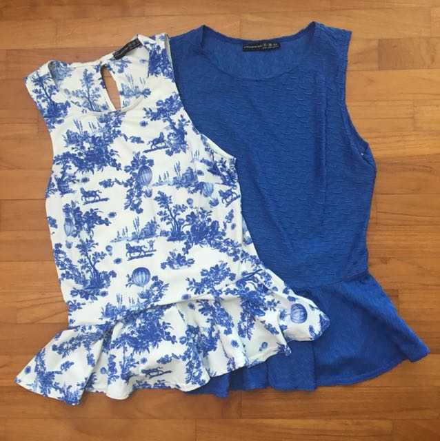 42112e95c108d4 Primark Blue Floral Peplum Top Set, Women's Fashion, Clothes, Tops on  Carousell
