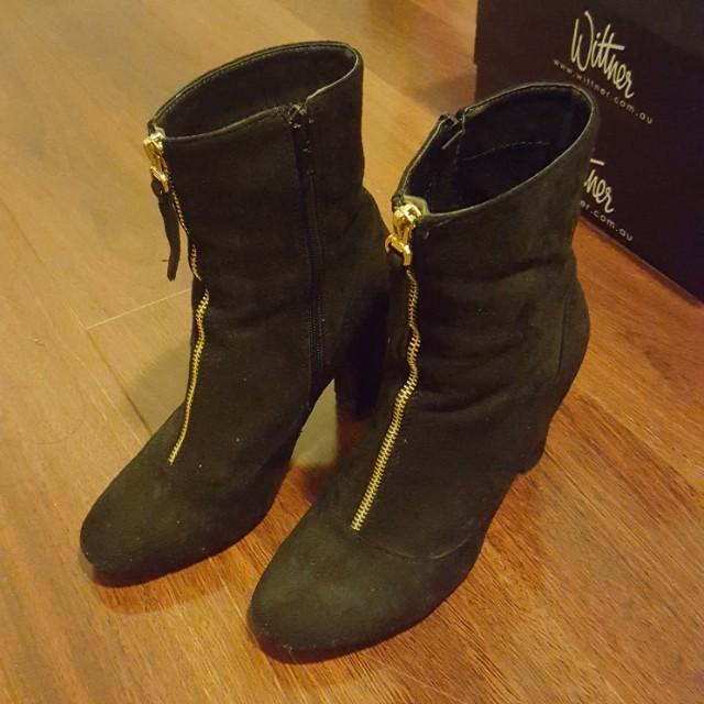Public Desire Suede Gold Zip Ankle Boots Sz 7
