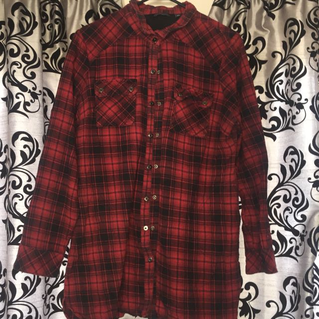 Red checkered button up long sleeve shirt