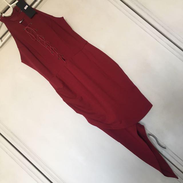 Red Lace Up Drape Dress
