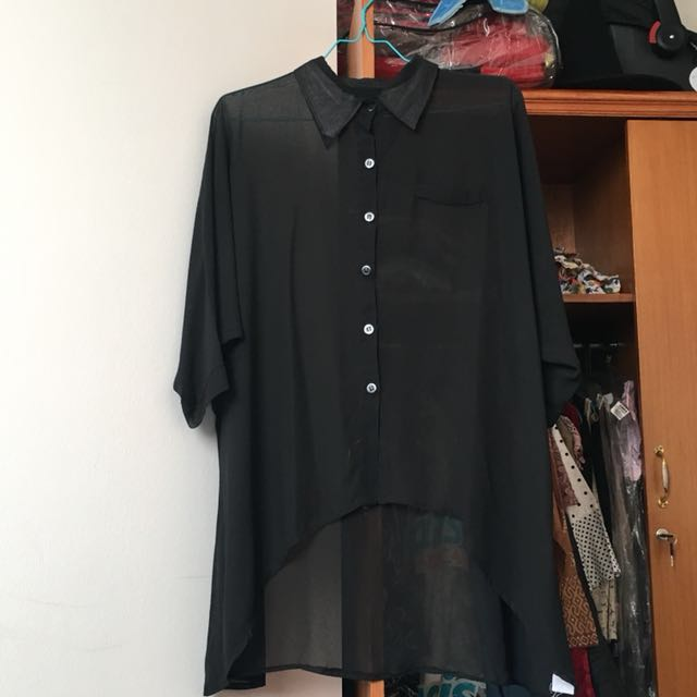 See-through Black Top size L