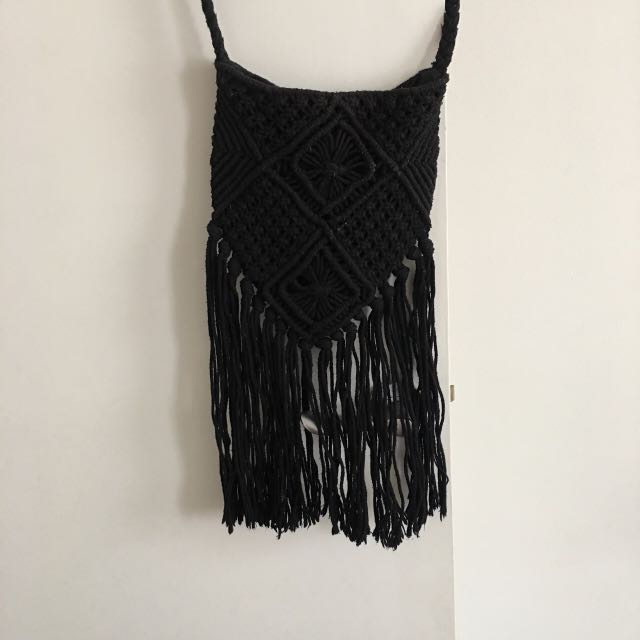 SPORTSGIRL Black Fringe Bag