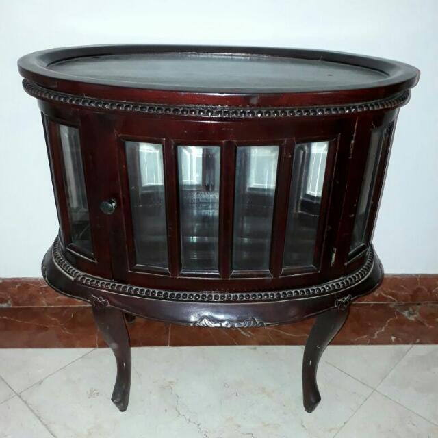 tea table ( meja teh oval ) jati, antik