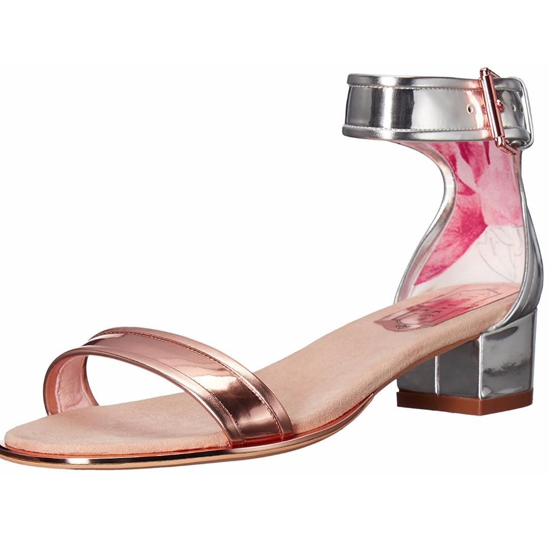 3abd51411bf Ted Baker Ruz SIlver Rose Gold heeled sandals ankle strap shoes US10 ...