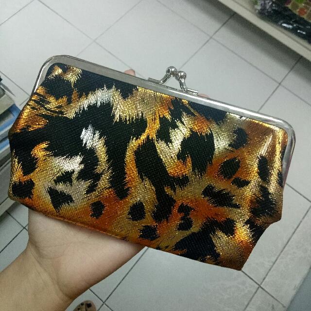 Three way purpose 3 in 1 ANIMAL PRINT WALLET / PURSE / POUCH (cheetah / leopard) 😍😍😍 (gold silver black orange yellow shimmer glitter)
