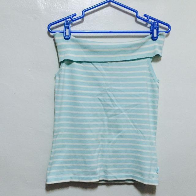 TOP GIRL平口藍白條紋上衣