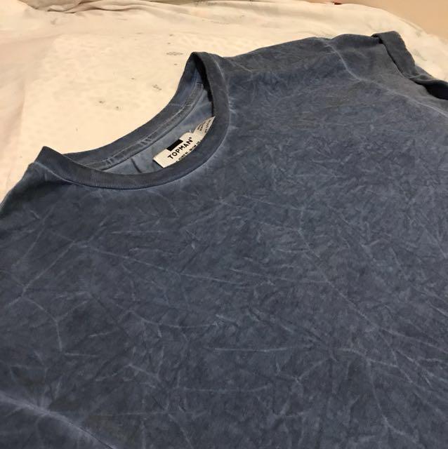Topman Blue Roll-Up Shirt Size S