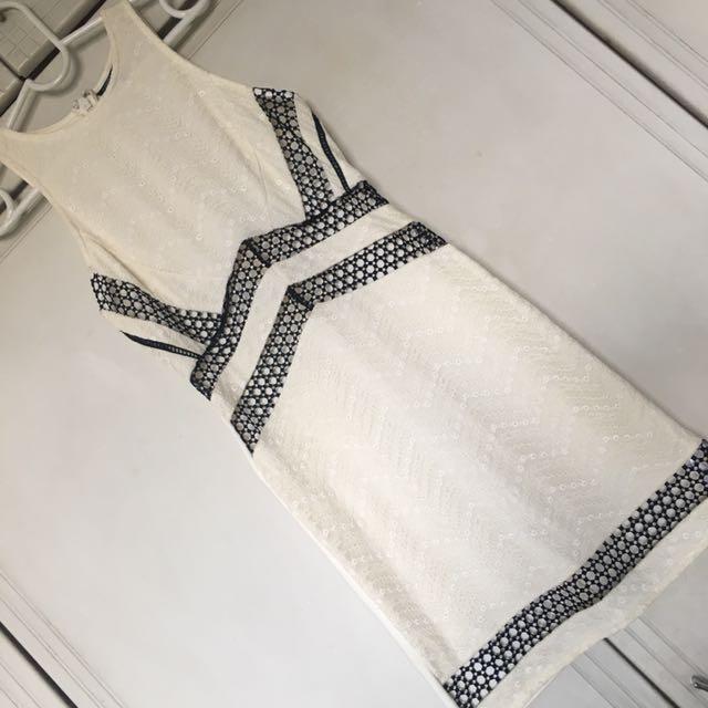 Topshop White Textured Mesh Dress