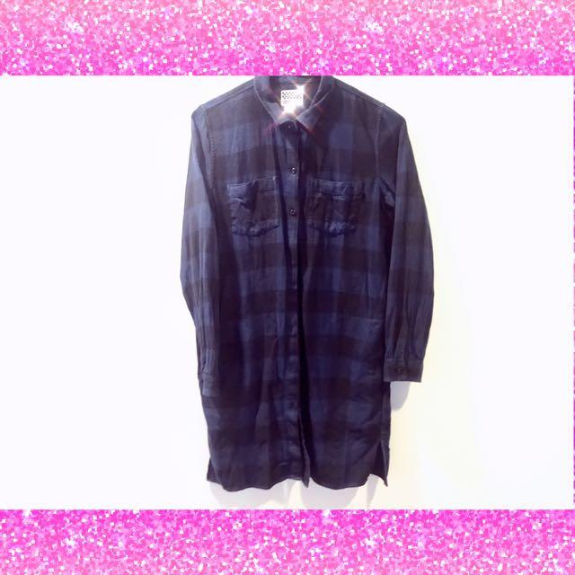 正品🌴Vans💗黑X藍 配色 格子 襯衫 長版 洋裝
