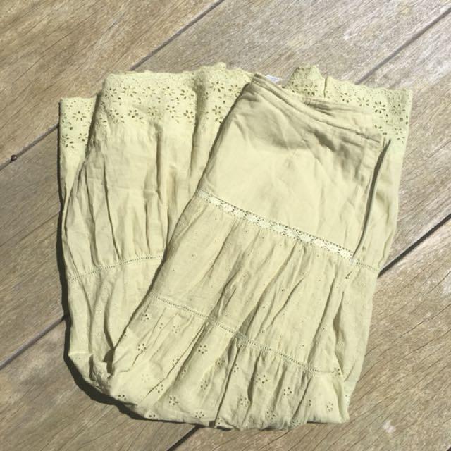 Vintage Green Maxi Skirt