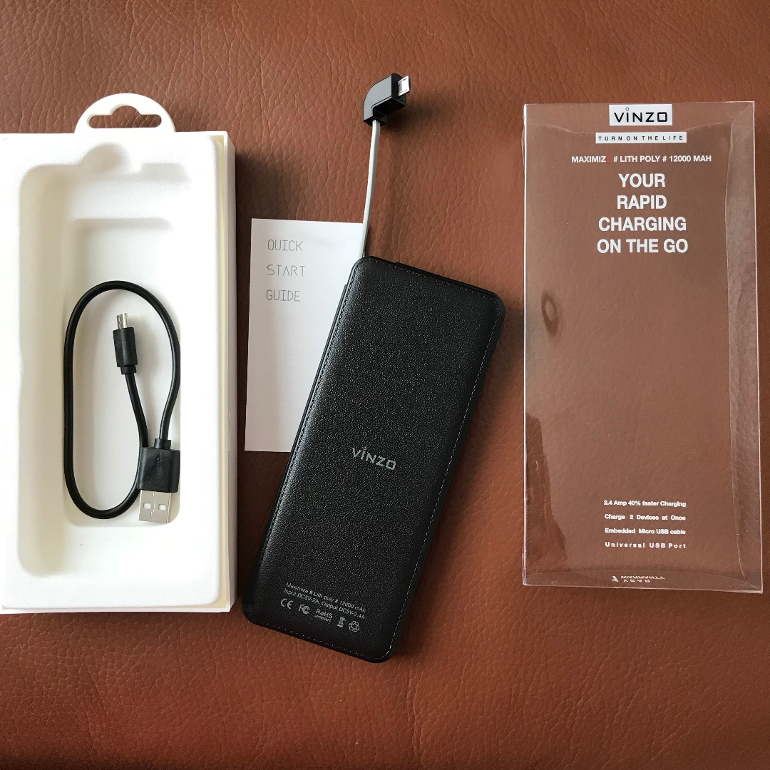 Vinzo Black Slim Power Bank 12.000