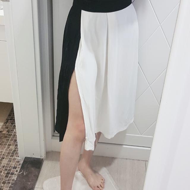 zara側開叉高腰黑白拼接長裙xs號
