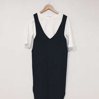 Stripe Mid Jumper Dress with White Top