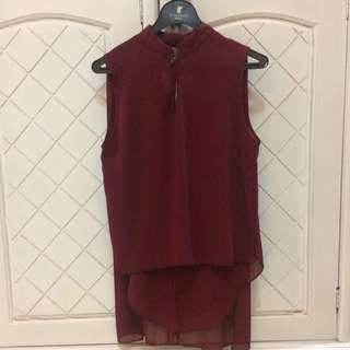 Maroon Backless Layer Top