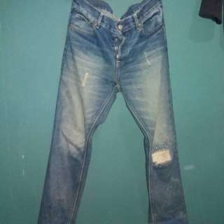 pmp denim pipes distressed wash blue