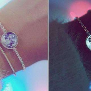 Glow in the dark moon necklace and braclets