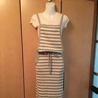正韓-條文吊帶裙