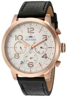 Tommy Hilfiger Jake Multi-Function White Dial Black Leather Mens Watch 1791236