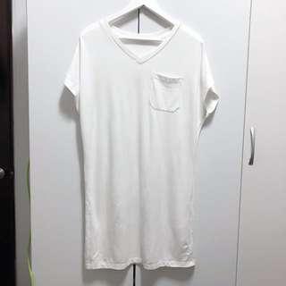 GU 質感超好白色長版T連身裙洋裝