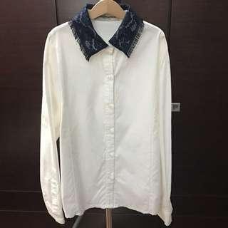 🚚 全新 深藍蕾絲領拼接精緻質感襯衫