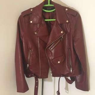ZARA Red Faux Leather Biker Jacket