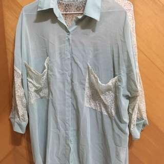 Ps company 湖水綠 蕾絲雪紡襯衫